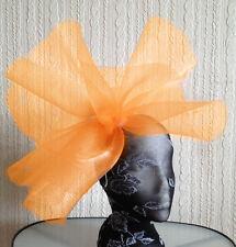 Orange fascinator millinery burlesque wedding hat hair piece ascot race bridal