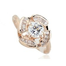 VINTAGE INSPIRED 18K ROSE GOLD PLATED GENUINE CLEAR CUBIC ZIRCONIA CRYSTAL RING