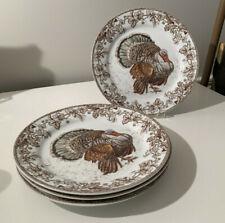 "Williams Sonoma PYLMOUTH Turkey Dinner Plates 10 ½"" Set of 4"
