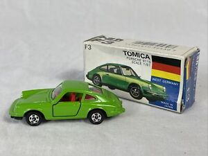 Tomy Tomica Porsche 911S Green Car w VHTF Japan Box S-1/61 Diecast No F3 Mint