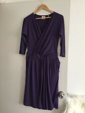 LEONA EDMISTON Dress - Vintage Style Purple Wrap Pleat Drape Pockets Size 12