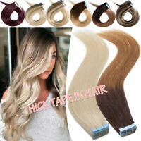 Tape In 100% Real Remy Human Hair Extensions Skin Weft Maroon Ombre Glue 200g US