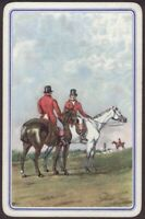 Playing Cards 1 Single Card Old Vintage * RIDING HORSES * Art Horse Riders Men