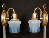 PAIR Antique 1910's Arts And Crafts Quality Cast Brass Bronze Wall Light Sconces
