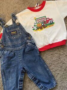 Vtg OshKosh Bgosh Denim Bib Overalls & Sweatshirt Infant Size 18 Mths USA Made