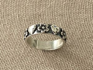 Vintage 925 Sterling Silver Flower Heart Ring Size 7.5