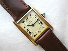 Cartier Must de Cartier Tanque Chapado en Oro Reloj De Mujer Mecánico de la mano de la bobina