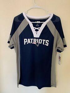 MAJESTIC NFL Team Apparel NEW ENGLAND PATRIOTS V-Neck Jersey Shirt Womens NWT