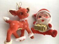Vintage Christmas Santa Claus Rudolph Reindeer Flocked Ornament Lot 2