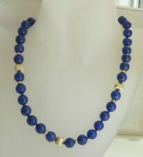 Edle LAPISLAZULI Perlen Halskette mit 585 GOLD 14 Karat Gelbgold Collier Kette