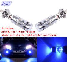 2x H1 10000K 100W LED  BLUE 20-SMD Projector Fog Driving DRL Light Bulbs