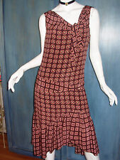 MAYLE Retro 20s Style PAJAMA FLORAL Print RUFFLE DROP WAIST Flapper Dress 6 S M