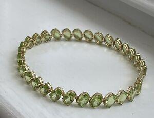 14k Yellow Gold Peridot Tennis Bracelet
