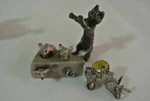 """1983 Hudson Pewter Mice In Swiss Cheese Pewter Figurines Cat  1.5"""" Long"""