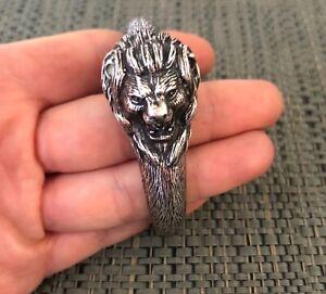 Vintage Artisan Signed Wilson Sterling Silver Lion Cuff Bracelet