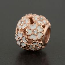 Rose Gold Pandora 781488EN12 Blanco Primrose Prado encanto grano ALER