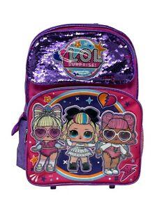 """L.O.L Surprise! Large School Rolling Backpack 16"""" Girls Bag Purple LOL Bag"""