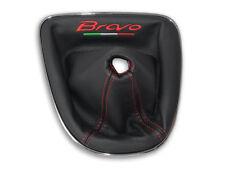 PER FIAT BRAVO 2 II 2007-2017 CUFFIA LEVA CAMBIO PELLE NERA RICAMO ROSSO Italia
