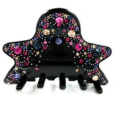 *USA* HAIR CLIP Acrylic Austria Crystal PIN Claw swirl star BLACK VIOLET BLUE