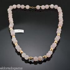 Piedra Preciosa Collar Con Cuentas - Rosa Natural Cuarzo & 14k ORO AMARILLO 61cm