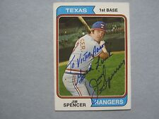 JIM   SPENCER  (Died  in  2002)  (Texas  Rangers)  Signed  1974  Topps  Card