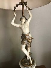 Antique AUGUST MOREAU SIGNED Figural Lamp French Art Nouveau