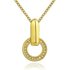 Elegant 18k 18CT Yellow Gold Filled GF Round CZ Pendant Necklace N-A728