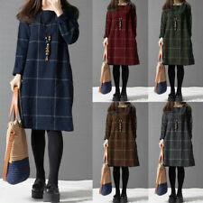 Winter Women Long Sleeve Check&Plaid Short Dress Vintage Casual Loose Blouse Top