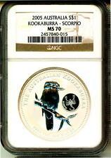 2005 S$1 Australia Kookaburra Zodia Scorpio Privy NGC MS70
