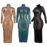 Damen Metallic Bodycon Kleid Transparent Aushöhlen Langarm Party Club Kleid Sexy