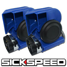 2PC BLUE NAUTILUS COMPACT HYBRID ELECTRIC/AIR HORN 139DB WITH RELAY FOR 12V P1