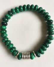 Green Malachite gemstones & Links Of London sweetie silver rings, Bracelet NEW