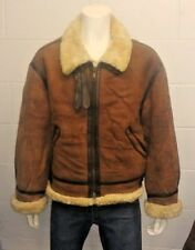 Vintage Chevignon Navy Genuine Sheepskin Shearling B3 Aviator Flying Jacket XL