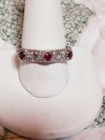 MINT JUDITH RIPKA STERLING SILVER RUBY RING SZ 8.75