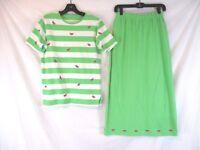 Quacker Factory Women Embellished Skirt Set Green Sz S Watermelon Summer CB78M