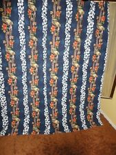 DEAN MILLER BLUE WOODY TROPICAL FLORAL HIBISCUS (1) FABRIC SHOWER CURTAIN 70X70