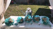 Lot Of 6 Pcs Rustic Shabby Burlap Toss Bridesmaids Wedding Bouquets Teal Tiffany