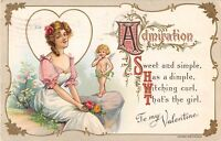 D41/ Valentine's Day Love Holiday Postcard c1910 Lorain Ohio Wessler Cupid 31