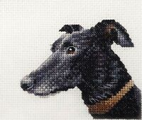 BLACK GREYHOUND dog ~ Full counted cross stitch kit with all materials