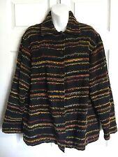 MIRASOL Frayed Threads Striped Multi-Color Women's Jacket Blazer - Size M.  EUC