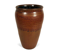 """FINELY HAND THROWN STUDIO ART POTTERY VASE BROWN BLUE UNKNOWN ARTIST 6 3/4"""" TALL"""