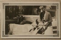 Antique Photo - Woman with deer in front of car & redwood tree