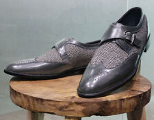 Handmade Mens Gray Color Wing Tip Monk Shoes, Gray Dress Shoes for Men