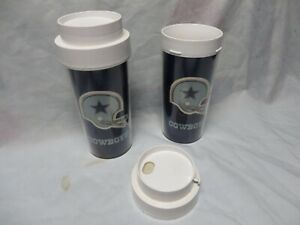 "2 VINTAGE 1976 DALLAS COWBOYS  FOOTBALL NFL THERMO SERV CUPS,TRAVEL MUGS,7"" LID"