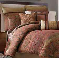 Croscill Avellino Queen COMFORTER Euros Drapes Valance 11PC Set Red Gold Brown