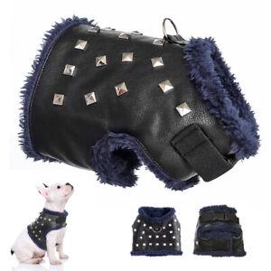 Boy Puppy Pet Dog Harness Warm Soft Vest Rivets Studded Leather  XXS XS S Black