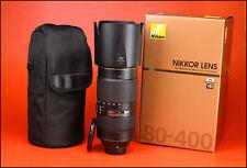 Nikon AF-S 80-400mm f4.5-5.6 G ED VR Telephoto Zoom Lens + F/R Lens Caps + Box