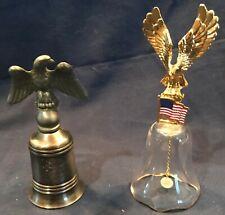 2 Bells 1 Eagle Patriotic Glass w/ Flag & 1 metal w/ eagle w/ Isaiah 40:31 verse