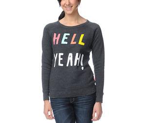 NWT Glamour Kills Juniors Womens Hell Yeah Crewneck Sweater Pullover Sweatshirt