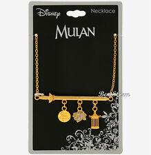 Disney Mulan Sword Charm Necklace Dangle Cri-kee Cage Flower Fighting Girl Disk